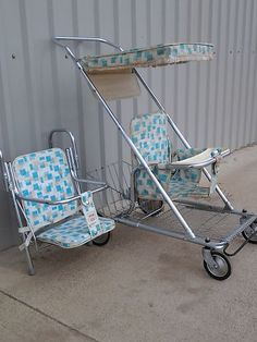 Stroller Carseat Antique Vintage Retro Babee Tenda Folding Walker Tandem Seat | eBay