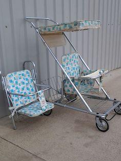 Stroller Carseat Antique Vintage Retro Babee Tenda Folding Walker Tandem Seat | eBay