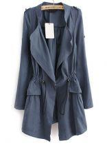 Blue Long Sleeve Epaulet Drawstring Trench Coat