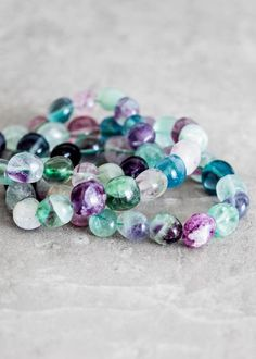 In pretty hues of pruple and green , this tumbled fluroite bracelet is a happy addition to your collection. Fluorite is said to bring order to chaos, so wear this bracelet and keep the peace wherever you go and in perfect bohemian style.