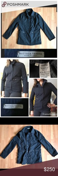 Bottega Veneta Cotton Field Jacket $1700 Pristine! Pristine condition Bottega Veneta Women's Waterproof Cotton Military Field Jacket. Sharp styling with snap collar, 4 zip pockets, snap and zip closure. Silver hardware contrast a black cotton canvas jacket. Can be worn with collar fastened or open. Made in Italy from Spring 2014 Collection. $1700 retail. Pristine condition! Size 42/6 US. Bottega Veneta Jackets & Coats