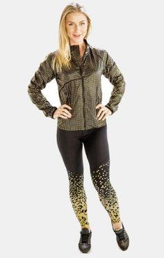 Greyish Black Chic Metallic Jacket for Women, Alanic Activewear Yellow Leggings, Women's Leggings, Metallic Jacket, Jackets For Women, Clothes For Women, Jackets Online, Black Trim, Workout Leggings, Traditional Outfits