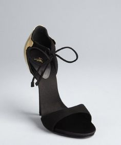 Giuseppe Zanotti black and gold suede open toe plaque heel pumps