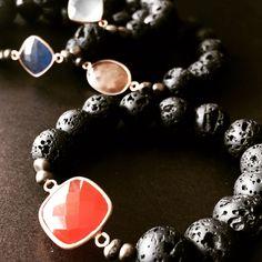 Lava beads Pearl Jewelry, Lava, Charmed, Style Inspiration, Pearls, Bracelets, Fashion, Bangle Bracelets, Moda