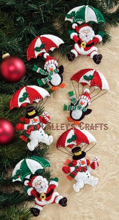 Bucilla Dropping In Felt Christmas Ornaments Kit Snowmen and Penguins Elf Christmas Decorations, Felt Decorations, Felt Christmas Ornaments, Christmas Projects, Holiday Crafts, Christmas Makes, Christmas Holidays, Christmas Sewing, Homemade Christmas