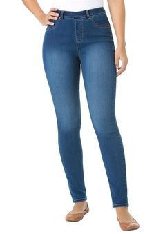 Women's Plus Size New Premium Denim Petite Skinny Pull-On Stretch Jeans -- Want additional info? Click on the image.