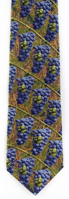 New Vine Ripened Mens Necktie Grapes Wine Vineyard Grape Leaves Silk Neck Tie #RalphMarlin #NeckTie