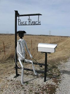 Price Ranch mailbox in Butler County, Kansas. Funny Mailboxes, Unique Mailboxes, Entrance Sign, You've Got Mail, Going Postal, Moving And Storage, Metal Art, Curb Appeal, Ranch