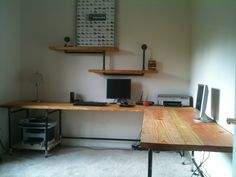 industrial desk and shelves - I love this, just needs an overhead hutch and white board