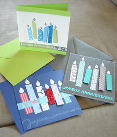 Je vous propose ces jolies cartes danniversaire aux bougies colorées avec un effet 3D pour plus doriginalité. Les cartes font 13 x 13 cm et sont vendues avec leur enveloppe de couleur, sous pochette plastique pour ne pas être abimées pendant le transport. Les cartes sont doubles, ce qui