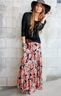 Flowery long skirt and hobo accessories and black shirt