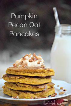 Pumpkin Pancakes with Pecans, Caramel & Greek Yogurt - TheFitFork.com