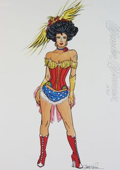 Signed, original costume sketch of iconic figure Wonder Woman in the year 1890 AD  done in a pin up girl style of the American west.