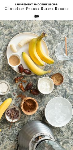 Get your morning off to a smooth start with a simple smoothie recipe. Only six ingredients, this chocolate peanut butter banana smoothie is a healthy breakfast and delicious energy boost at any time of day. [Featured Design: Wentwood™