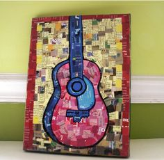 Guitar collage- with sheet music? Art Auction Projects, School Art Projects, Magazine Collage, 6th Grade Art, Guitar Art, Collaborative Art, Recycled Art, Art Classroom, Art Journal Pages