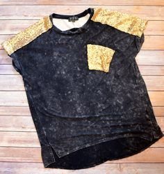 Stone Washed Sequin Top from The Charming Arrow Boutique