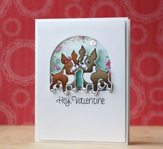 SSS-Simon in Love Love this design for a shaker card Dog Cards, Kids Cards, Love Valentines, Valentine Day Cards, Sequin Cards, Pretty Pink Posh, Hand Stamped Cards, Shaker Cards, 1st Birthdays