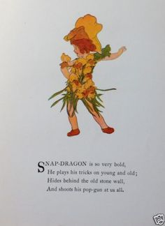 SNAP-DRAGON-Print-Flower-Children-Penny-Ross-1915-Vtg-Nursery-Wall-Decor