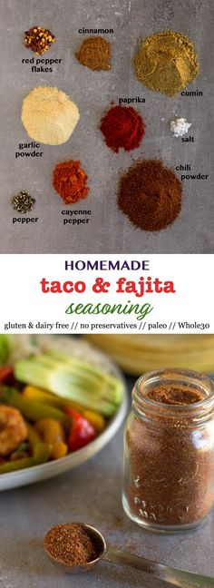 This easy and clean homemade taco seasoning gives food some spice and is free of any preservatives and sugar and you'll never go back to store bought. Perfect for tacos, fajitas, and any kind of protein. Whole30, paleo, vegan, and gluten free too - Eat the Gains #diy #Whole30 #vegan #paleo #mealprep