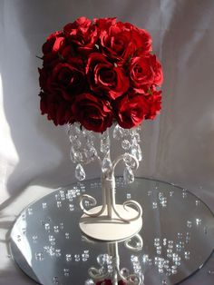 Red/Ivory Rose On Cream Stand Wedding Table Centrepiece | eBay
