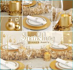 Gorgeous gold centerpiece and table setting party ideas.