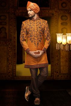 Orange jute aesthetic indo western sherwani  #Orange, #Embroidered, #Sherwani