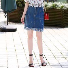 2016 Summer Ripped Denim Skirt with tassel Plus Size Ripped Denim Skirts, Summer 2016, Plus Size, Tassel, T Shirt, Fashion, Supreme T Shirt, Moda, Tee Shirt