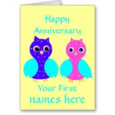 Happy First Anniversary Cute Owl Couple Customize Greeting Cards