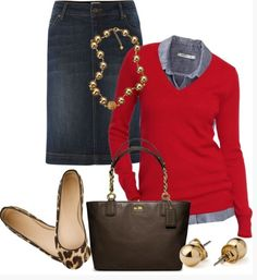 Sweater layered over shirt with jean skirt. Love the red