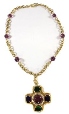 """CHANEL VINTAGE GOLD PLATED/SILVER VERMEIL """"CROSS/FAUX PEARL"""" GRIPOIX NECKLACE #Chanel #Chain"""