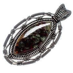 "Huge Russian Eudialyte 925 Sterling Silver Pendant 2 1/2"" PD555966"