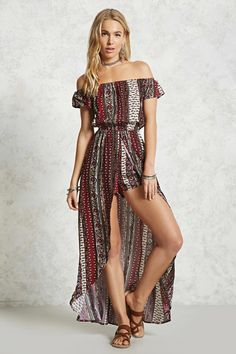 A woven maxi skort romper featuring an allover ornate print, elasticized off-the-shoulder neckline, short sleeves, and an elasticized waist.<p>- This is an independent brand and not a Forever 21 branded item.</p>