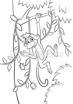 Little cute monkey is hanging on the tree branch and waves her hand. — стоковая…