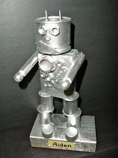 junk sculpture - a little silver spray paint makes such a big difference!