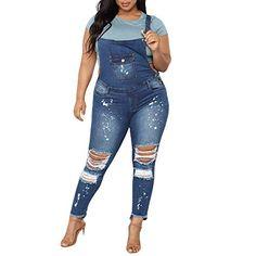 dae749d6e477 Kehen Spring Women s Casual Baggy Denim Bib Overalls Cropped Harem Pant  Jeans Romper Jumpsuits Blue XX