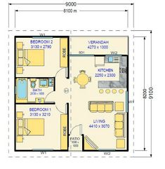 Resultado de imagem para converting a double garage into a granny flat 2 Bedroom House Plans, Cottage Floor Plans, Small House Floor Plans, Cottage Plan, Unique House Plans, Modern House Plans, Granny Flat Plans, House Construction Plan, Apartment Plans