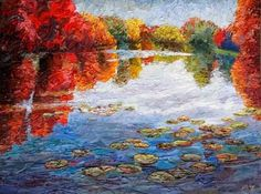 "Landscape Artists International: New ""October Reflections"" Palette Knife Painting by Niki Gulley"