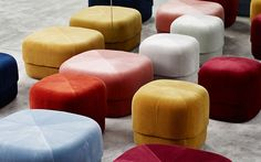 Circus Pouf small in grey velour – Nordic Moroccan pouf
