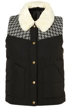 Topshop Faux Fur Collar Puffy Vest available at Nordstrom Faux Fur Collar, Fur Collars, Puffy Vest, She Is Clothed, Quilted Vest, Getting Cozy, Topshop Outfit, United Kingdom, Nordstrom