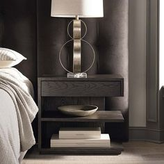 MODERN Left Jelle Nightstand with soft-close drawer. All wood with deep, dimensional oak available in 2 nuanced finishes. Bedside Table Design, Bedside Table Styling, Modern Bedside Table, Shelf Nightstand, Nightstand Ideas, Side Tables Bedroom, Contemporary Bedroom Furniture, Living Room Trends, Bedroom Night Stands