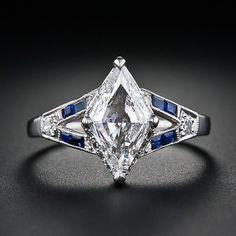 Art Deco Lozenge Shape Diamond and Sapphire Ring