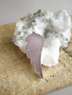 Druzy Angel Wing Necklace Amethyst Druzy Drusy by julianneblumlo, $168.00