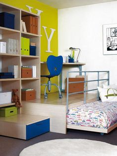Great way to hide a bed and still have room to use the room for another purpose.  Sewing/craft room?