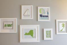 Cute frame collage - either use vibrant frames with more neutral prints or use all neutral frames with the color in the prints.