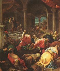 """Jesus Casts Out the Moneychangers.    BIBLE SCRIPTURE: Mark 11:15, """"And they come to Jerusalem: and Jesus went into the temple, and began to cast out them that sold and bought in the temple, and overthrew the tables of the moneychangers, and the seats of them that sold doves;"""" - http://access-jesus.com/Mark/Mark_11.html"""