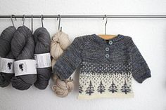 Anders is a sweet top-down pullover in sizes from 3 months through 2 years. Knit in soft wool this sweater is warm, hardy and able to withstand a trip through the washing machine, should the need arise. Colorwork in the lower body is echoed in the cuffs and simple raglan shaping and an option to wear with buttons in front or back (to keep away from busy mouths) make it versatile and easy-fitting.