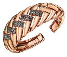 Pulsera de oro rosa con diamantes negros. Joyería Suárez
