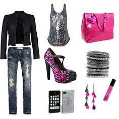 My First Attempt at polyvore outfits....Hot Pink Rock Glam!