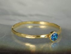 Dainty Solid 14k Gold Blue Zircon Ring, 3mm gold solitaire, solitaire ring, real gold, December Birthstone, Mothers RIng, Solid gold band by Alaridesign