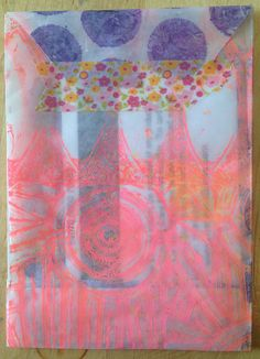 "Made by Nicole: Gelli Plate Printed Translucent Envelope -- using the Balzer Designs ""Blazonry"" and ""Aboriginal"" stencils & a technique from ""Getting Started with Deli Paper"" online class."